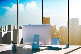 arriere plan de bureau lieu de travail du bureau 3d avec l horizon à l arrière plan