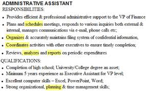 Job Description In Resume by Resume Mission Statement For Administrative Assistant Executive