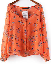 floral chiffon blouse orange sleeve floral chiffon blouse abaday com