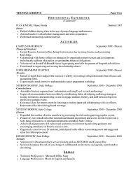 college student resume for internship internship resume sle