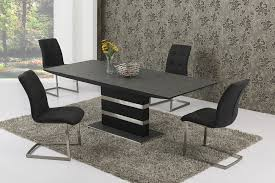 Small Extending Black Stone Effect Glass Dining Table   Chairs - Stone kitchen table