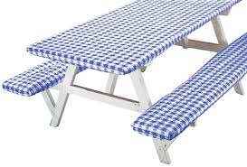 fitted picnic table covers deluxe picnic table cover set of 3 walmart com