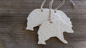 handmade set of 3 ceramic christmas ornaments polar bear
