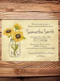 jar bridal shower invitations sunflowers bridal shower invitation rustic sunflowers vintage