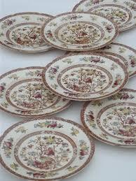 india tree pattern dinner plates vintage maruta japan indian tree