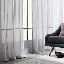 Window Sheer Curtains Solid Open Weave Sheer Curtains Set Of 2 Gray West Elm