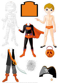 Halloween Mummy Crafts by Boy Paper Doll With 3 Costumes For Halloween Party Mummy