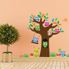 Cute Wise Owls Tree Wall Stickers For Kids Room Decorations - Animal wall stickers for kids rooms