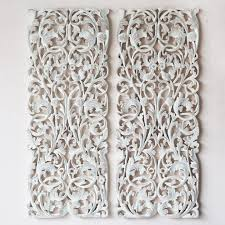 pair of wall panel wood carving sculpture siam sawadee