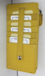 leather slim organizer wallet card holder yellow zip around w strap
