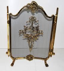 hollywood regency french style brass folding fire screen