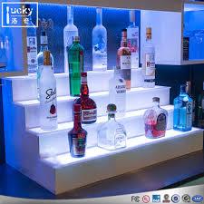 led lighted bar shelves lighted led bar shelf liquor display bottle glorifier 4step buy