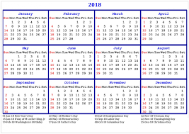 2018 calendar with holidays printable usa uk canada