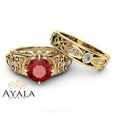 rings with ruby images Ruby victorian engagement ring set 14k yellow gold victorian ring jpg