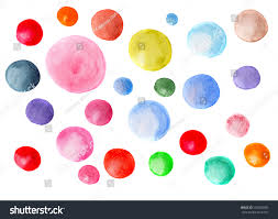 colorful painted watercolor balls isolated stock illustration