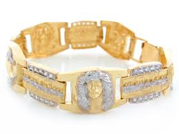 religious bracelets two tone gold white cz jesus praying last supper religious