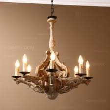 Candle Style Chandelier Country Aged Gold Scrollwork Distressed Wood 6 Light Candle Style