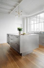 Stainless Kitchen Islands by An Amazing Kitchen In This Gorgeous Parisian Loft Stainless
