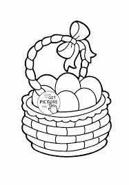 cute basket with easter eggs coloring page for kids coloring