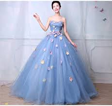 sky blue ball gown prom dresses 2017 beaded flowers puffy evening