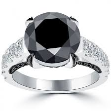 black band engagement rings large black diamond engagement ring white diamonds