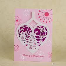 2016 creative sequins merry christmas card pink laser cutting 3d