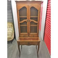 vintage secretary desk with mesh glass door hutch chairish