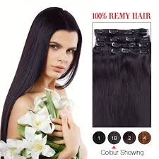 remy clip in hair extensions 14 inch black 1b 7pcs set remy clip
