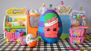 giant play doh surprise egg video ultra rare shopkins kinder