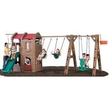 step2 naturally playful adventure lodge play center swing set with