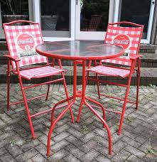 Patio Bistro Table Red Coca Cola Patio Bistro Table And Chairs Set Ebth