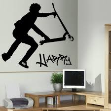 bathroom wall stickers promotion shop for promotional customer made personalised stunt scooter wall transfer art sticker poster decal you choose name and color