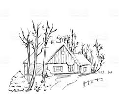 winter background house in the snow landscape stock vector art