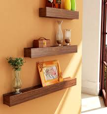 decoration furniture for small spaces natural wood shelves walls
