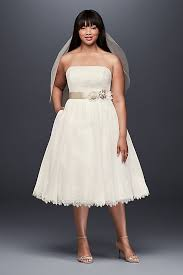 tea length wedding dresses dotted tulle plus size tea length wedding dress david s bridal