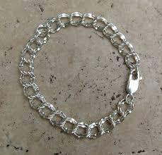 charm bracelet links images Hammered links silver charm bracelet JPG