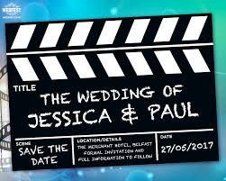 save the date clapperboard wedding save the date cards wedfest