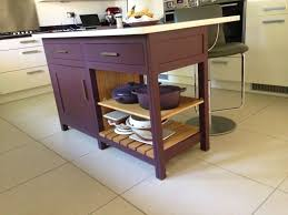 fired earth freestanding kitchen island in eggplant moderne range