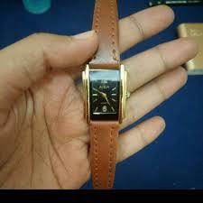 Jam Tangan Alba jam tangan kulit wanita lucu alba coklat kotak persegi panjang