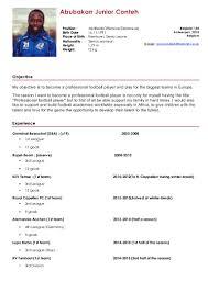 sample athletic resume professional soccer player resume sample dalarcon com abubakarr junior conteh football cv