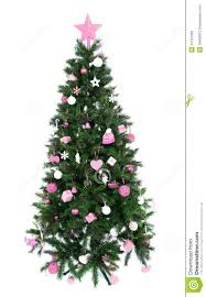 decorated christmas tree with patchwork ornament pink star stock