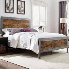 Metal Bedroom Furniture Walker Edison Furniture Company Brown Queen Bed Frame Hdqawrw