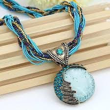 boho pendant necklace images Vintage boho reiki ball opal stone pendant necklace 4 colors the jpg
