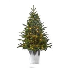 4 foot pre lit pe pvc tree in tin barrel kurt s adler