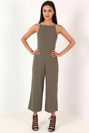khaki jumpsuit strappy open tie back culotte jumpsuit from premier glam