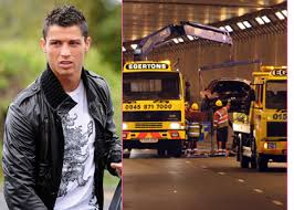 cristiano ronaldo crashes his car