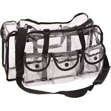 makeup artist supply heavy duty clear see through vinyl 6 external pockets shoulder