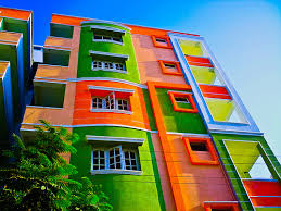 colorful building a very colorful building building and street art