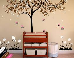 Cherry Blossom Tree Wall Decal For Nursery Tree Wall Decal Bees Floral Cherry Blossom Vinyl Nursery Decor