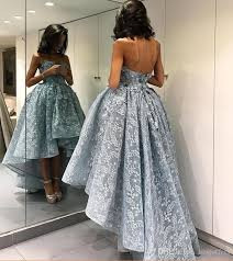 ice blue high low prom dresses 2017 strapless with 3d floral
